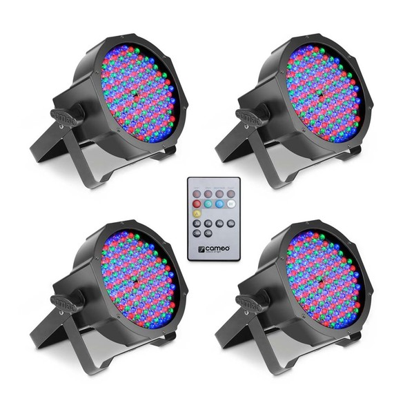 Cameo 144 x 10mm RGB LED Flat Par Can Spotlight, Black, Set of 4, Full Package