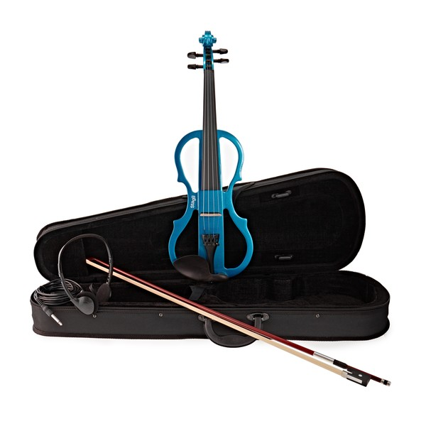 Stagg Shaped Electric Violin Outfit, Metallic Blue