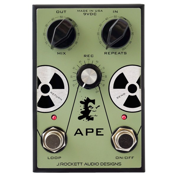 J Rockett APE Analog Preamp Experiment Tape Machine Recreation Pedal - Front