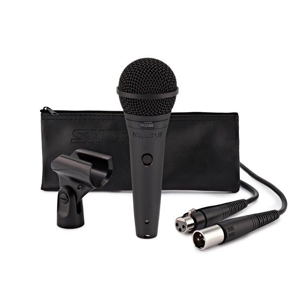 Shure PGA58 Cardioid Dynamic Vocal Microphone with XLR Cable - Full Package