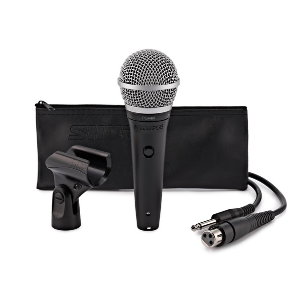 Shure PGA48 Cardioid Dynamic Vocal Microphone, with XLR to Jack Cable - Full Package