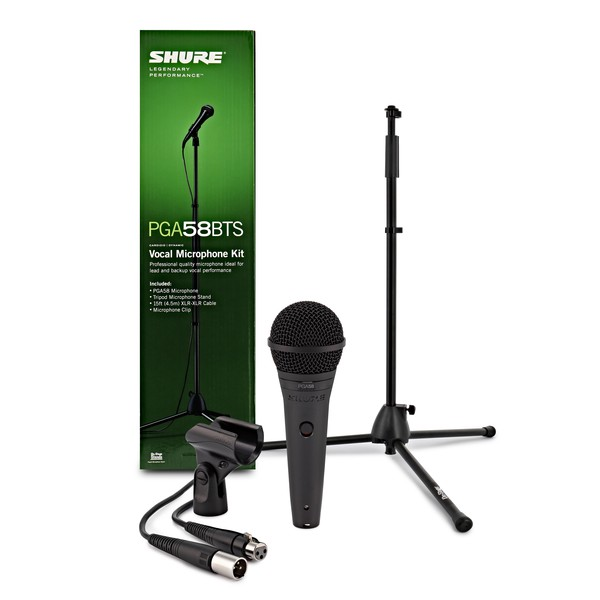 Shure PGA58 Vocal Microphone Set Including Mic Stand + XLR Cable - Full Package