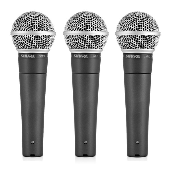 Shure SM58 Dynamic Cardioid Vocal Microphone, 3 Pack - Front
