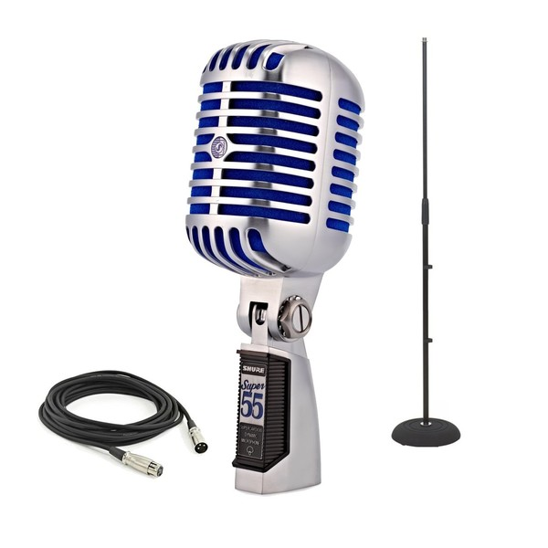 Shure Super 55 Deluxe Vocal Microphone with Stand and 6m Cable - Full Package