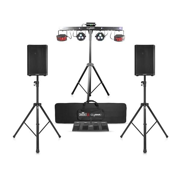 QSC CP8 Speaker Bundle with Chauvet DJ GigBAR 2, Front View