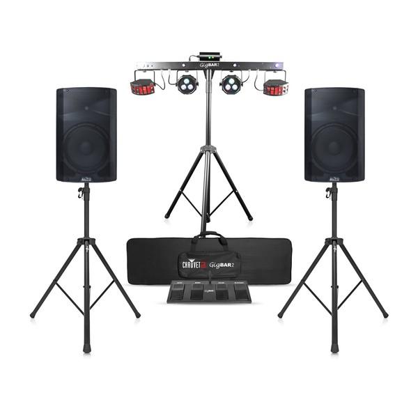 Alto TS315 Speaker Bundle with Chauvet DJ GigBAR 2, Front