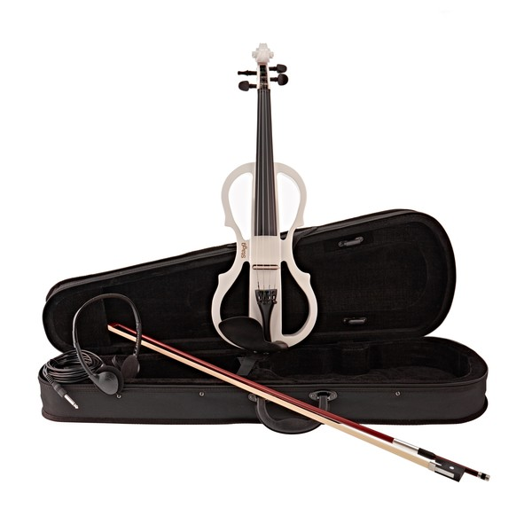 Stagg Shaped Electric Violin Outfit, White