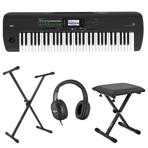 Korg I3 Portable Arranger Workstation Package, Black