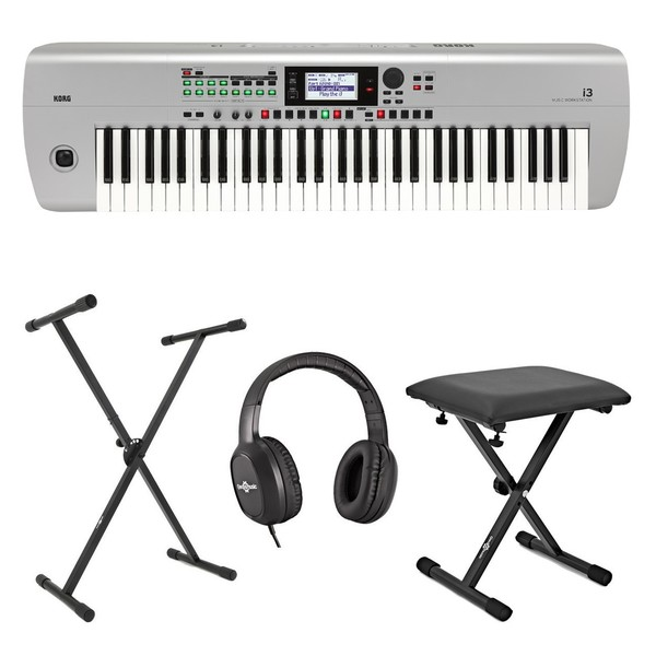 Korg I3 Portable Arranger Workstation Package, Silver