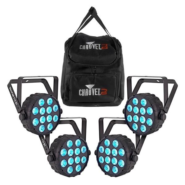 Chauvet DJ SlimPAR T12BT LED Par Can, Pack of 4 with Bag