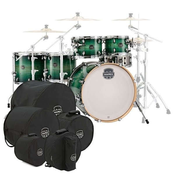 Mapex Armory 22'' LA Fusion 6pc Shell Pack w/Bag Set, Emerald Burst - Main