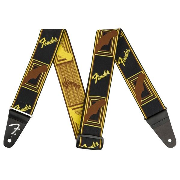"Fender Weighless 2"" Monogram Strap, Black/Yellow/Brown - Main"