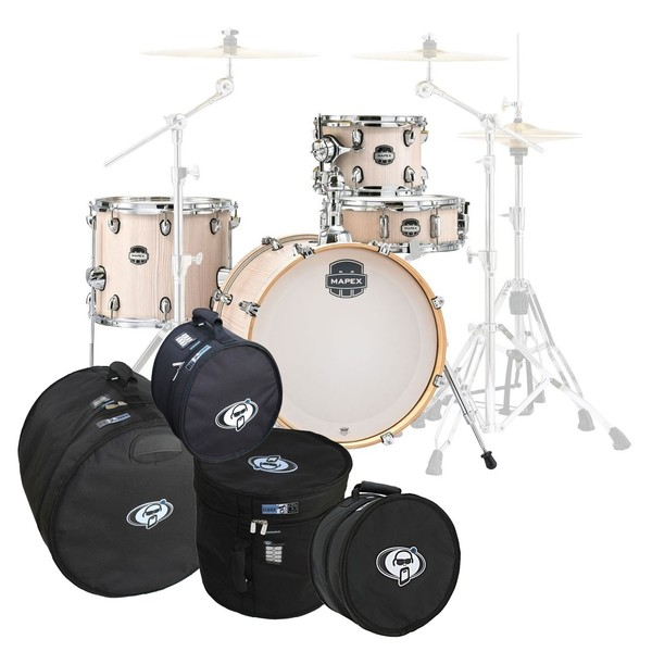 Mapex Mars 18'' 4pc Bebop Shell Pack w/Bag Set, Bonewood
