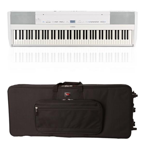 Yamaha P515 Digital Piano, White, Gator Case Bundle