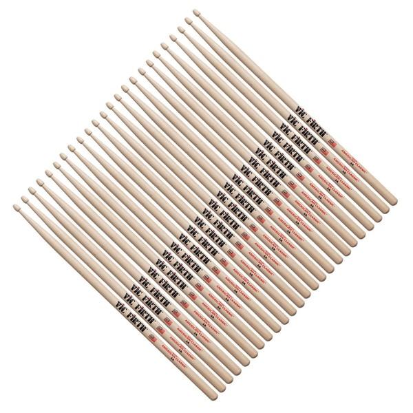 Vic Firth 5A Hickory Drumsticks Wood Tip, 12 Pair Value Bundle