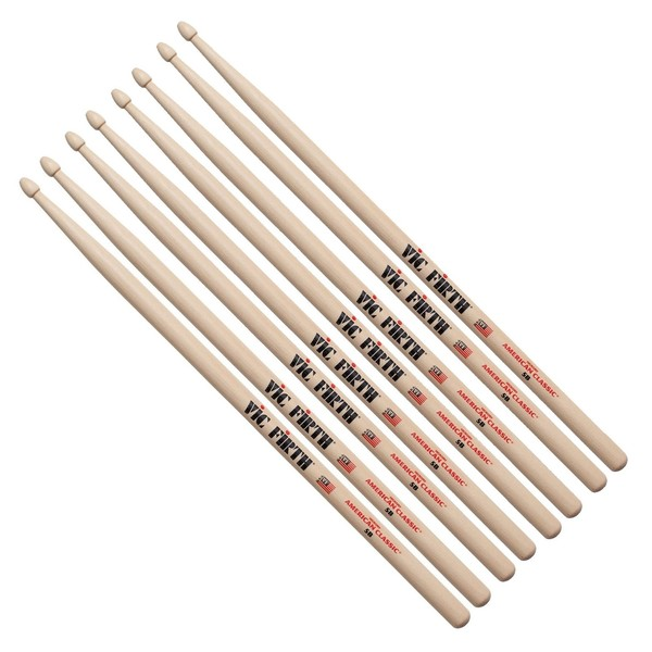 Vic Firth 5B Hickory Drumsticks, 4 Pair Value Bundle