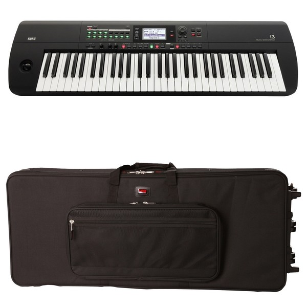 Korg I3 Portable Arranger Workstation, Black, Gator Case Bundle