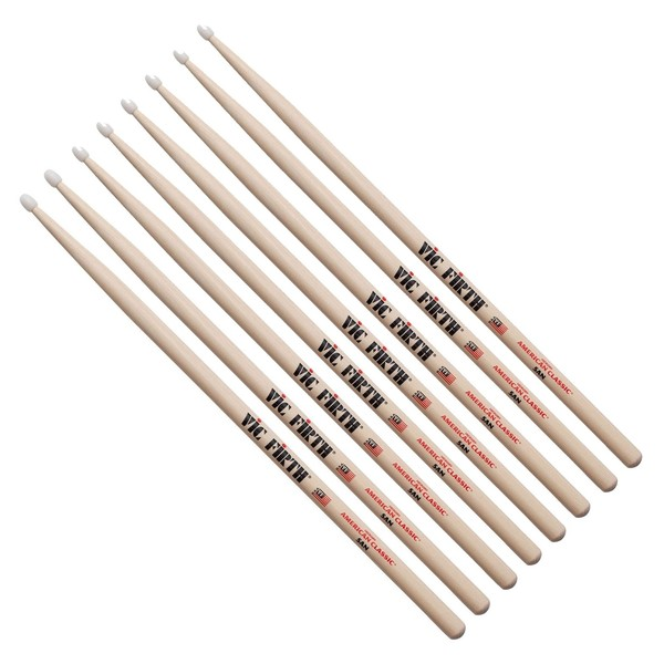 Vic Firth 5AN Nylon Tip Hickory Drumsticks, 4 Pair Value Bundle
