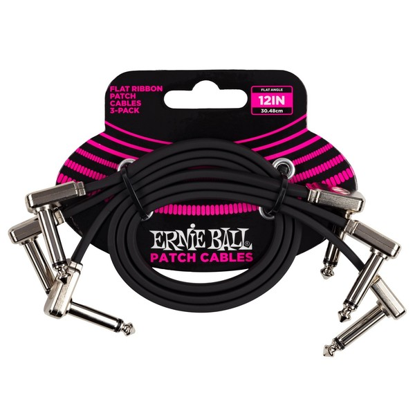 """Ernie Ball 12"""" Flat Ribbon Patch Cable, 3-Pack - Main"""