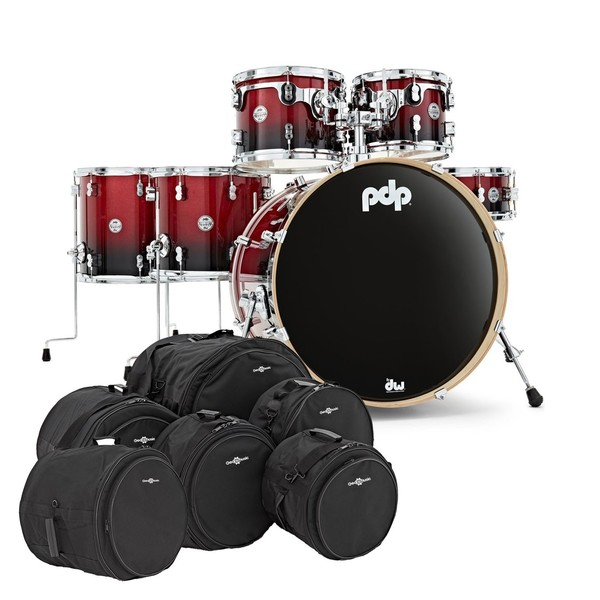 PDP Drums Concept Maple 22'' Shell Pack with Bags, Red to Black Sparkle