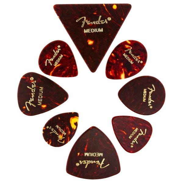 Fender All Shapes Celluloid Medley Tortoise Shell Med, Pack of 8
