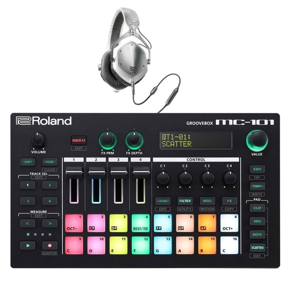 Roland AIRA MC-101 Groovebox with V-Moda M-100 Headphones - Full Bundle