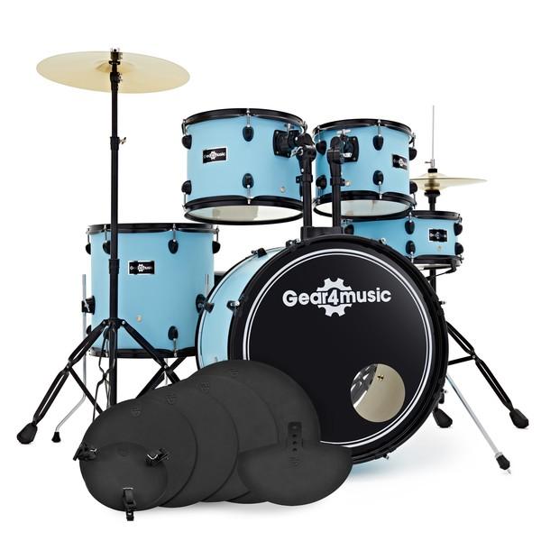 BDK-1 Fusion Drum Kit + Practice Pad, Pastel Blue