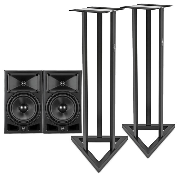 """RCF AYRA PRO 8 8"""" Active Studio Monitors with Stands - Full Bundle"""