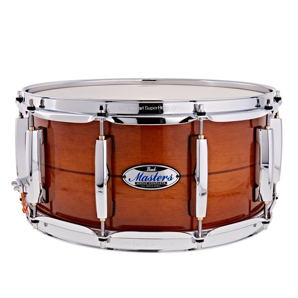 """Pearl Masters Maple Complete 14 x 6.5"""" Snare Drum, Almond Red Stripe"""