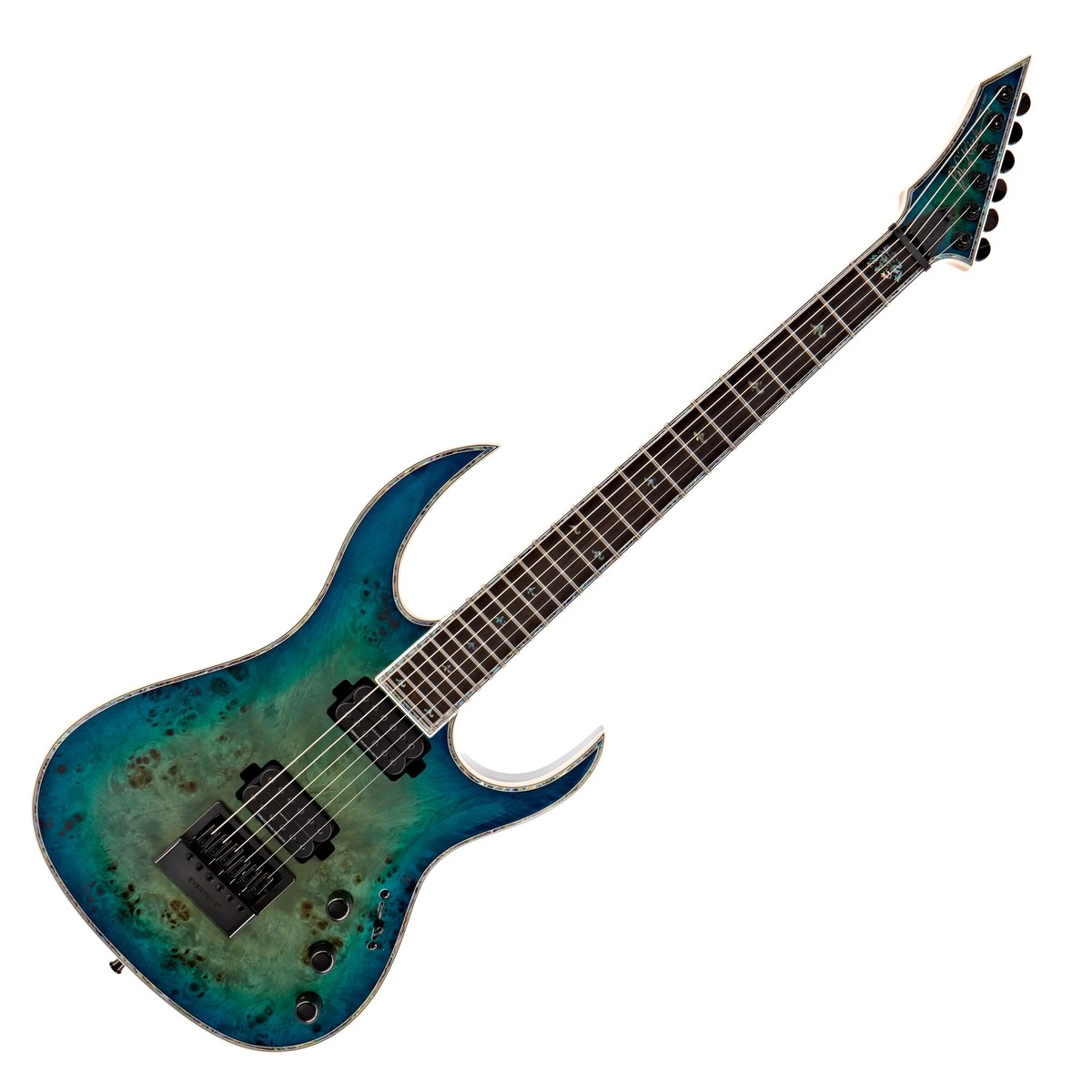 Click to view product details and reviews for Bc Rich Shredzilla Prophecy Archtop Evertune Cyan Blue Burl.