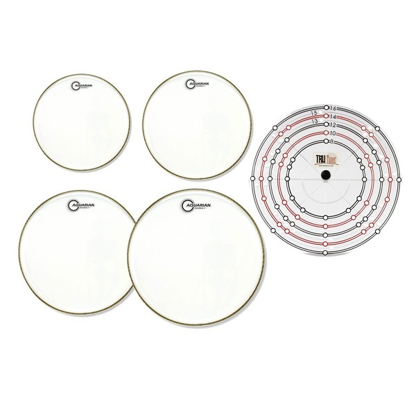 Aquarian RSP2C Clear Drumhead Pack w/Free Rapid Replacement System