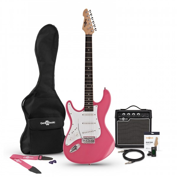 LA Left Handed Electric Guitar + Amp Pack, Pink