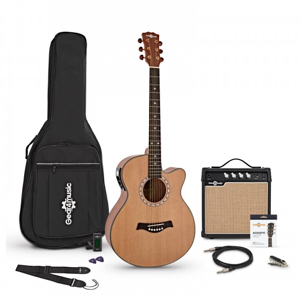 Deluxe Single Cutaway Electro Acoustic Guitar + 15W Amp Pack, Natural