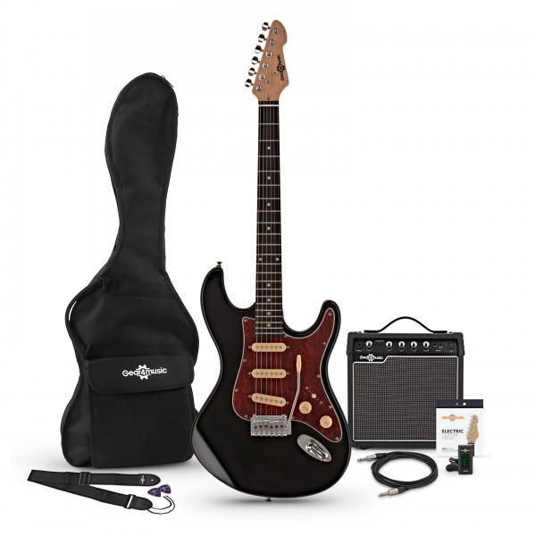 LA II Electric Guitar SSS + Amp Pack, Black