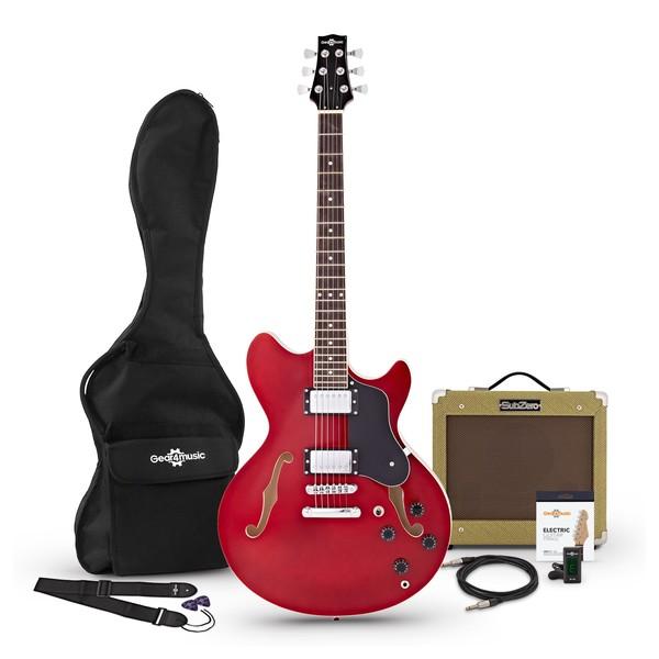 San Francisco Semi Acoustic Guitar + SubZero V35RG Amp Pack, Wine Red pack