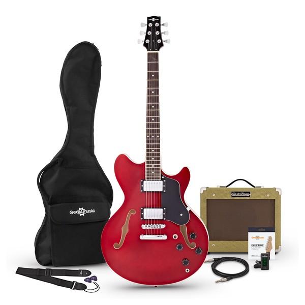 San Francisco Semi Acoustic Guitar + SubZero V15G Amp Pack, Wine Red