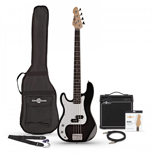 LA Left Handed Bass Guitar + 15W Amp Pack, Black