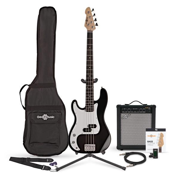 LA Left Handed Bass Guitar + 35W Amp Pack, Black
