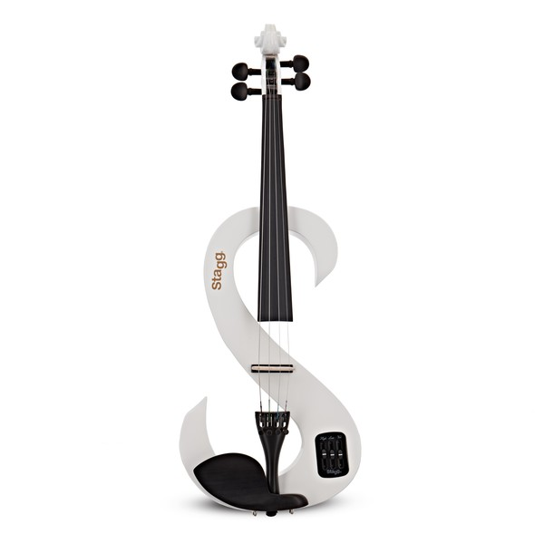 Stagg S-Shaped Electric Violin Outfit, White