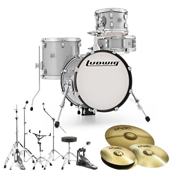 Ludwig Breakbeats Questlove Drum Kit Bundle, White Sparkle