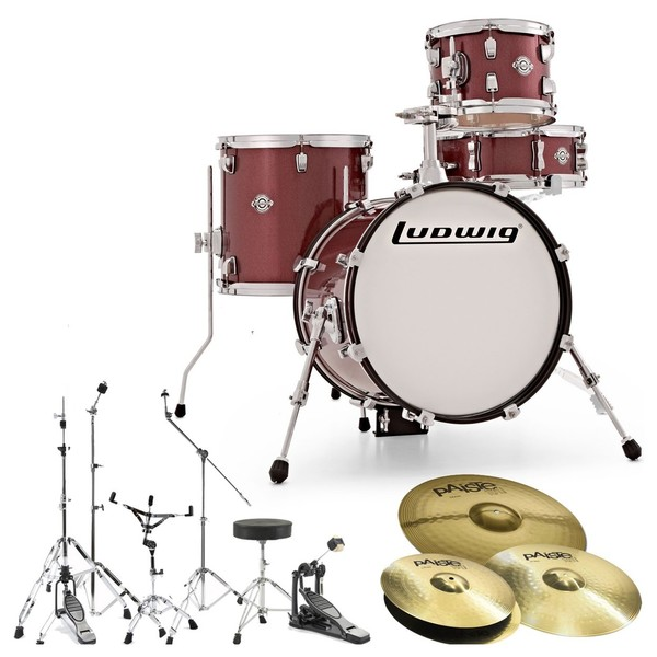 Ludwig Breakbeats Questlove Drum Kit Bundle, Wine Red Sparkle