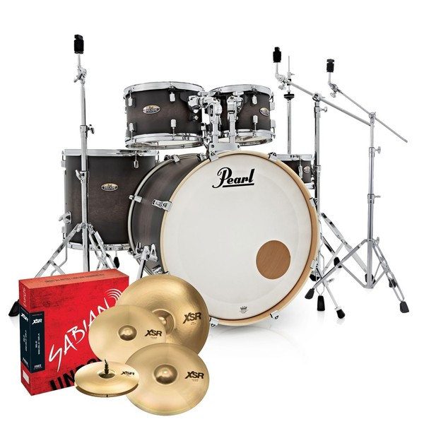 Pearl Decade Maple Pro Drum Kit w/Sabian XSRs, Satin Black Burst