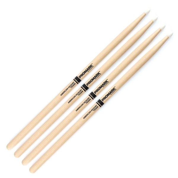 ProMark Hickory 5A Nylon Tip Drumsticks, 2 Pair Value Bundle