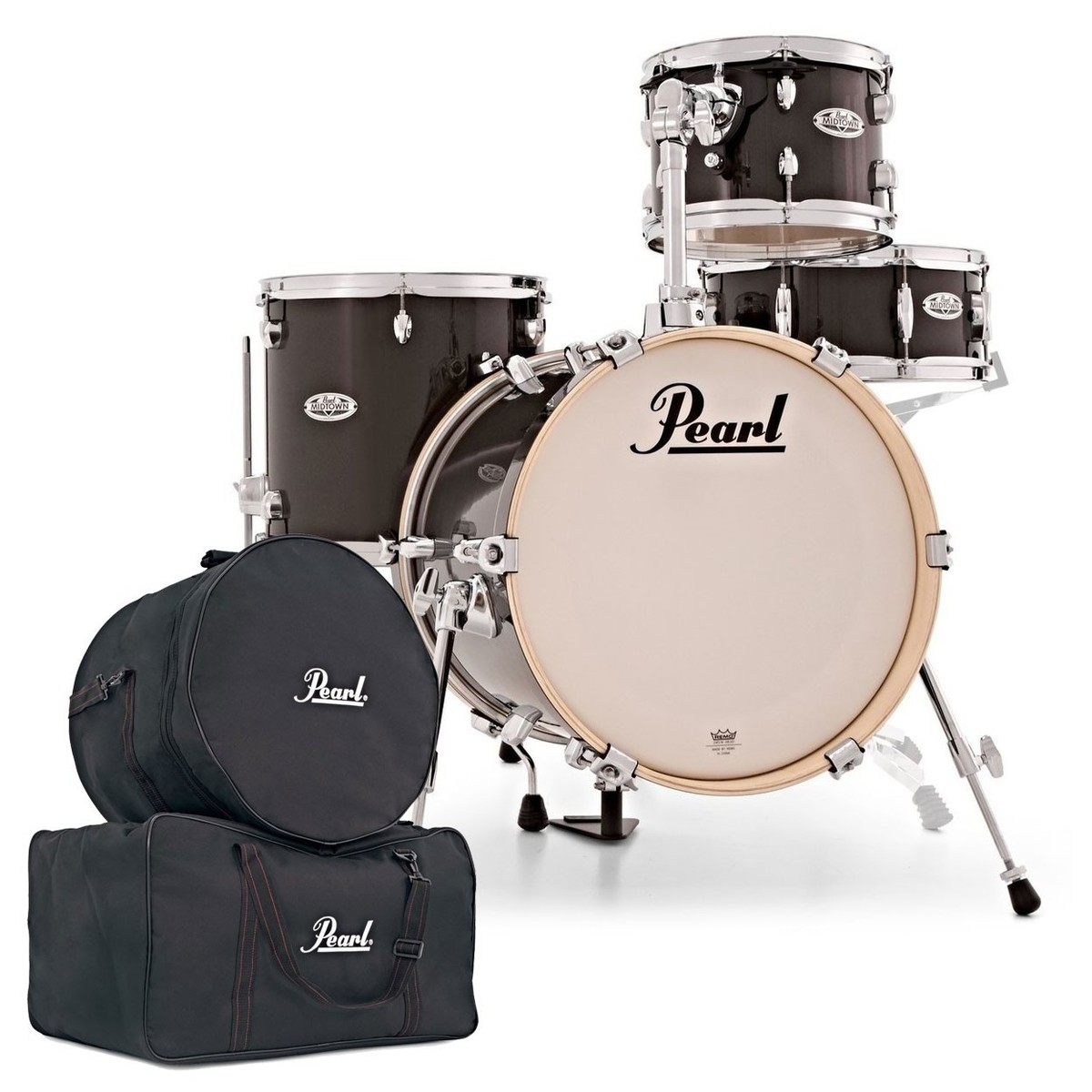 Pearl Midtown 4pc Compact Shell Pack w/Gig Bags Black Gold Sparkle