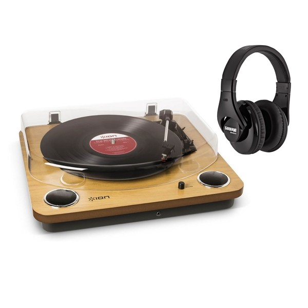 ION Max LP USB Turntable with Integrated Speakers and Pro Headphones