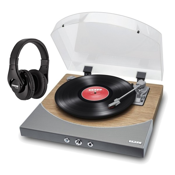 ION Premier LP, Natural Wood with Shure SRH240 Headphones
