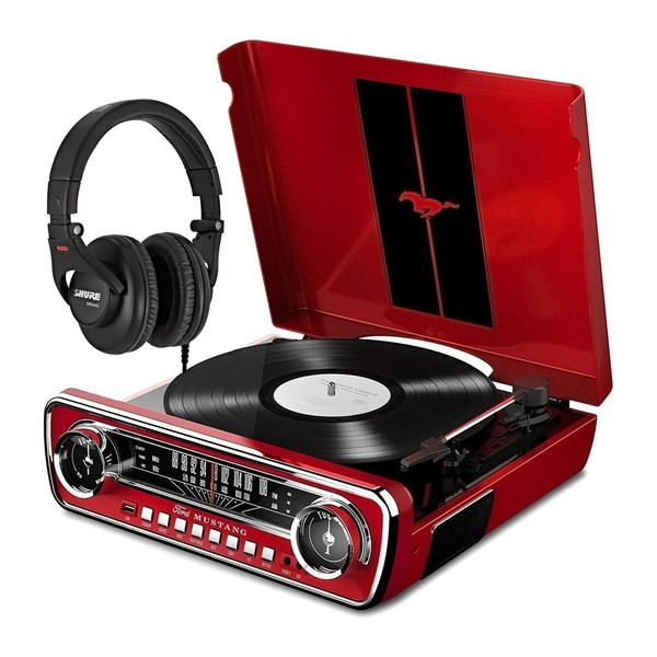 ION Mustang LP, Red With Shure SRH440 Headphones