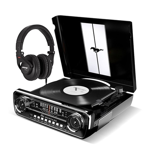 ION Mustang LP, Black With Shure SRH440 Headphones
