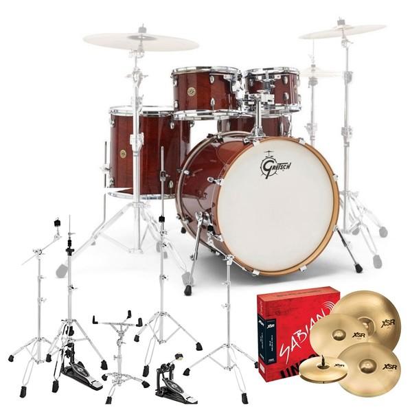 Gretsch Catalina Maple 5pc Complete Pro Drum Kit, Walnut Glaze