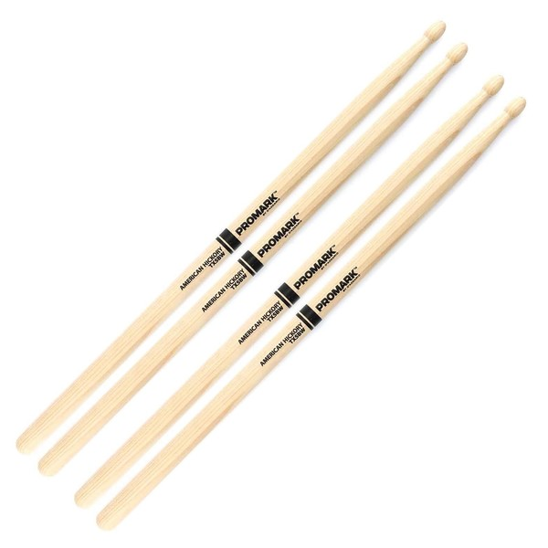 ProMark Hickory 5B Woodtip Drumsticks, 2 Pair Value Bundle